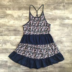 NWT En Crème S Blue Floral Polka Dot Mini Dress